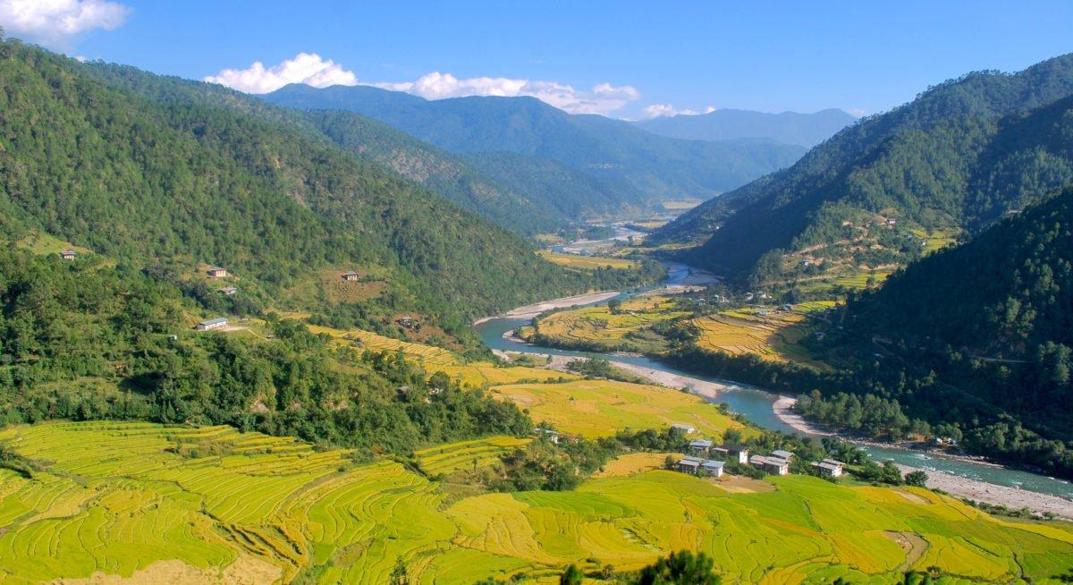 vandringsresa Bhutan, grönfloddal i Bhutan