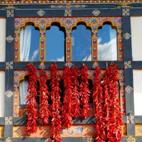 Chili hänger på tork i ett fönster på resa till Bhutan