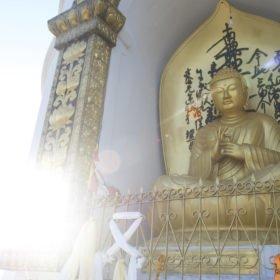 Rundresa Nepal. En gyllene Buddhastaty.