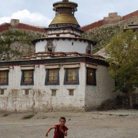 Rundresa Tibet. En ung munk vid Kumbumstupan i Gyantse