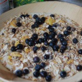 Äventyr i Sverige, frukosttallrik med fil och blåbär