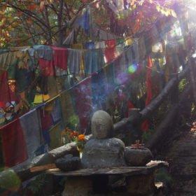 Bhutanresa, ett enkelt buddistiskt tempel