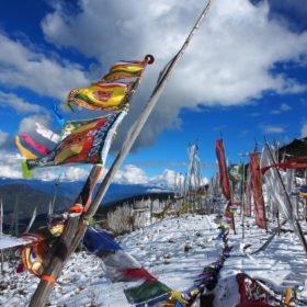 Bhutanresa, böneflaggor fladdrar i vinden på ett högt pass