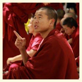 familjeresa Tibet och Nepal, en munk i Seraklostret