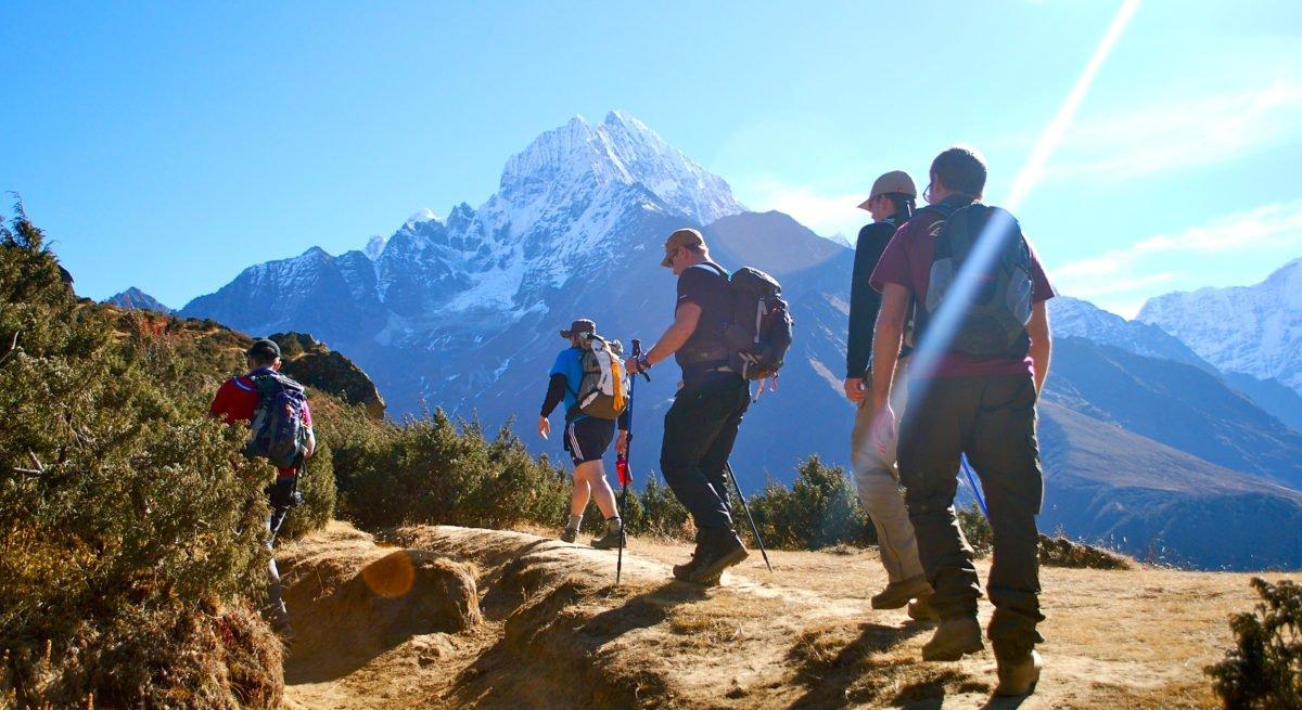 På väg mot Everest Basecamp, Thamsherku i bakgrunden