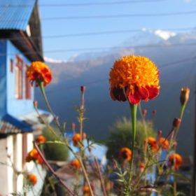 vy från en by på väg mot Annapurna Basecamp