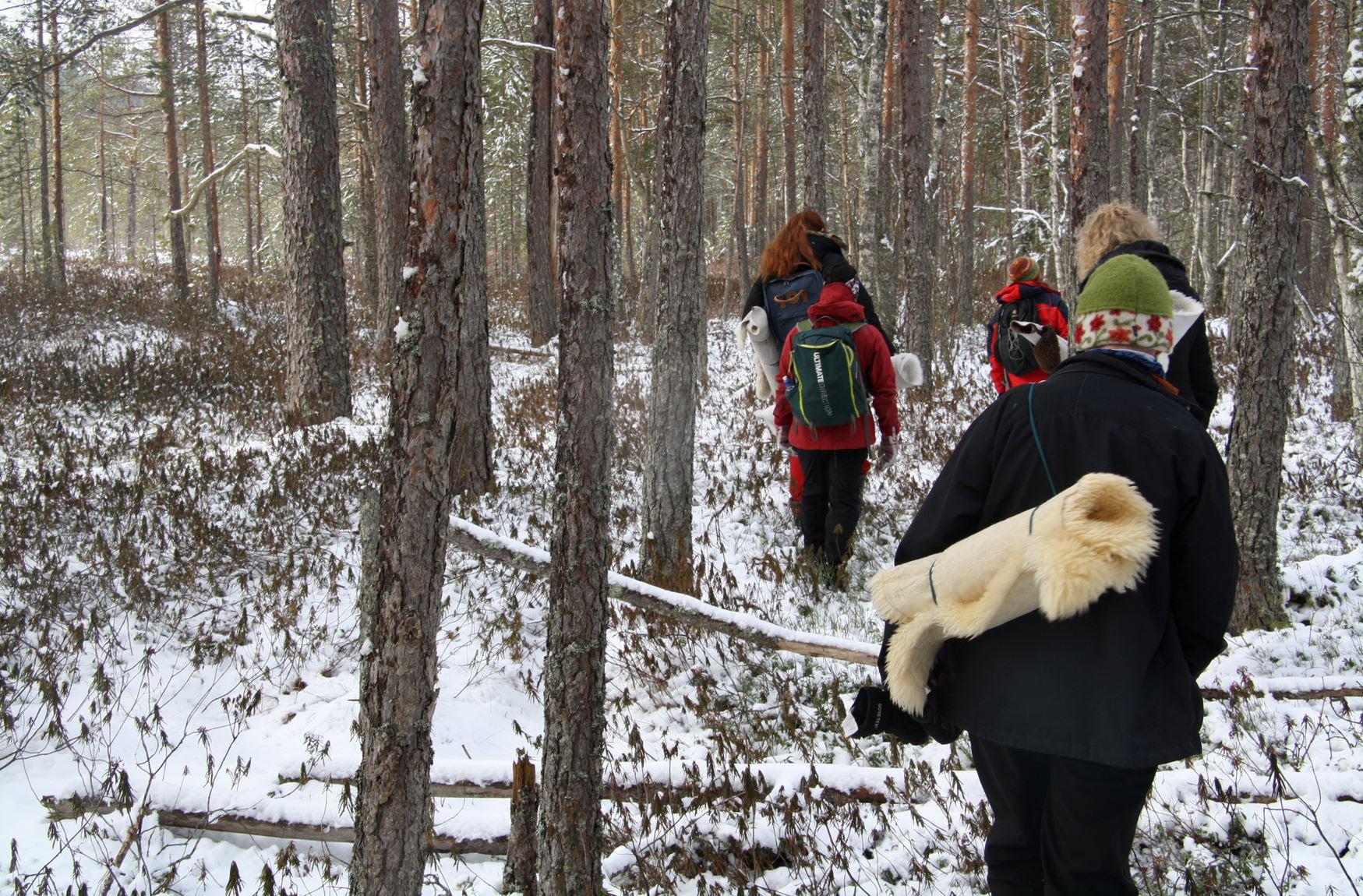 grupp som får prova att skogsbada